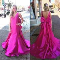 Wholesale Red Rectangle Ring - Big Bow Prom Dresses 2017 with V-Neck and Open Back Real Photos Fuchsia African Mermaid Ring Dance Gowns Saudi Arabia Formal Evening Dress
