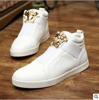 Wholesale Hip Sneakers - 2017 High-top Men casual shoes Fashion PU leather slip-on Men casual Flats Sneakers Fashion Hip Hop shoes high-top men shoes