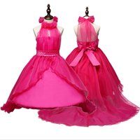 Wholesale Evening Teen Dress - teens big girl summer halter evening dress girl's tulle floral dresses children Xmas party costume wedding flower girl clothes