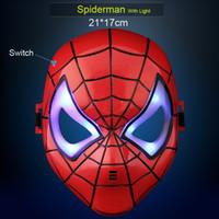 luz de película led al por mayor-Máscaras de héroe para niños o adultos Cartón Spiderman Batman Superman Hulk Ironman Máscara con luz LED Máscaras faciales completas Tema de película para chicos Cosplay