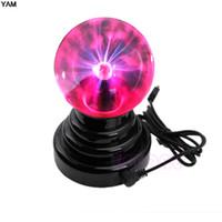 Wholesale magic black ball online - USB Magic Black Base Glass Plasma Ball Sphere Lightning Party Lamp Light