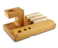 carga del muelle iphone 5s al por mayor-Estación de carga de bambú de madera natural multifuncional Estación de carga Titulares de soporte de cuna para iPhone 6 6S Plus 5 5S Para reloj