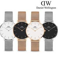 Wholesale Thin Strips Stainless Steel - New fashion Ultra thin womens Daniel watches top luxury brand rose gold Steel strip watches nurse ladies dresses quartz watch Montre Femme