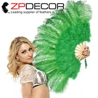 Wholesale Colored Ostrich Feathers Wholesale - ZPDECOR Factory Elegant 5 sets lot Multi-colored Marabou and Ostrich Feather Hand Fan Dancing Props Accessories Fan for Stage Performance