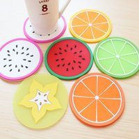 Wholesale Thick Silicone Mat - Mats & Pads Cute summer fruit coasters thick silicone insulation tea coaster non - slip mats