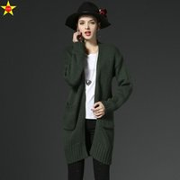 Wholesale Thick Poncho Sweater - Wholesale- L-3XL Plus Size Casual Women Sweaters 2016 Autumn Loose Thick Long Cardigan Coats Open Stitch Poncho Vestidos Cardigans Sweaters