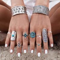9 PCS / set Vintage Bohemian Turquoise Flower Rings Retro Silver Color Ring Sets Boho Beads Rings Girls Femmes Bijoux Vente en gros