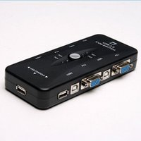Wholesale Kvm Switch Port Usb - Portable USB 2.0 KVM 4 Ports Selector VGA Print MANUAL Switch Moniter Box SVGA Splitter USB A B ports Keyboard Mouse Video