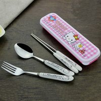 Wholesale Spoon Chopsticks Ceramic - Outdoor Travel Dinnerware Set Hello kitty tableware chopstick spoon fork with box Cartoon Stainless steel Cutlery kit baby DHL Shipping Free