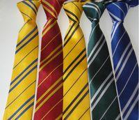 Wholesale Harry Potter Ties - Harry Potter Tie Gryffindor Slytherin Ravenclaw Hufflepuff Badge Ties Necktie Neckwear Costume Accessory Tie