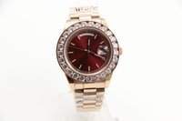 Wholesale Strap New Product - New product 44mm big sizeTop Luxury watch AAA Big diamond Red Dial Rose gold Stainless steel original strap Automatic movement men's Watches
