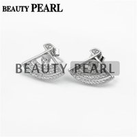 Bulk of 3 Pairs Fanshaped Earring Pearl Configurações 925 Sterling Silver Zircon Stud Earrings Semi Mount