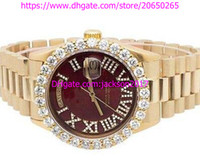 Wholesale mens watch sets - High Quality Christmas gift Luxury mens watches 18K Mens Yellow Gold President 41MM Prong Set Diamond Watch Automatic Mens Watch Watches