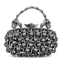 Wholesale Crystal Skull Phone - 2017 European style Skull evening bags with high quality rhinestone austrian crystals bride party handbag Clutch bags 456