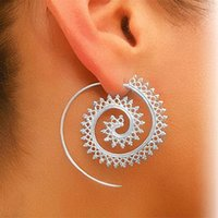 Retro Womens Lady Circles Round Spiral Brass Tribal Wedding Party Ear Stud Hoop Drop Dangle Brincos Jóias Presentes TOP1865