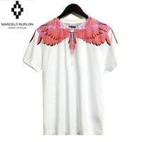 Wholesale Uomo Shirt Xl - Asian Size 2017 Marcelo Burlon T Shirt Men Women Feather Wings Milan Fashion Week T shirts Orologio Crologio Uomo Marcelo Burlon TShirt