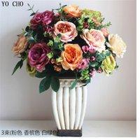 Wholesale Fl Flowers - estive Party Supplies Decorative Flowers Wreaths YO CHO Large Artificial peony bouquet High quality wholesale European simulation Rose fl...