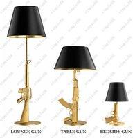 Wholesale Ak47 Lamp - Modern FLOS AK47 Chrome Gold Gun Table Lamps Desk Light Starck Design Philippe Read Night Light Super Light Living Room Bedroom Table Lamp
