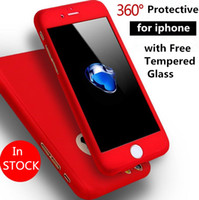 Wholesale Cheap Plastic Iphone Cases - 360 Degree full body protective Hard PC Cover Case with free Tempered Glass Screen Protector for iPhone 7 6 6S Plus cheap Phone Case