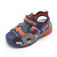 Boy spider cow - Childrens sandals mens summer new boys shoes Korean version of Spider Man Baotou beach shoes in the big children