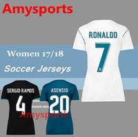 Wholesale Ladies White Uniform Shirt - 2017 2018 women real Madrid soccer jerseys Uniforms lady girls kits 17 18 RONALDO MODRIC BALE KROOS ISCO BENZEMA #10 JAMES football shirt