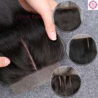 Wholesale Silk Top Closure Free Shipping - Silk Base Closure Straight Brazilian Virgin Human Hair Closure Silk Top Closures With Baby Hair 3 Middle Side Free Shipping