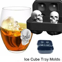 Wholesale Silicone Mold Halloween - Skull Shape 3D Ice Cube Mold Maker Bar Party Silicone Trays Halloween Mould Gift
