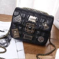 Wholesale Quilted Threads - Women Quilted Plaid Chain Metal Badges Lady PU Leather Shoulder Flap Bag Designer Small Crossbody Messenger Satchel Bag Mobile Phone Purse