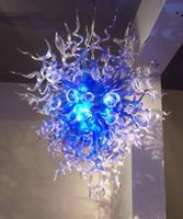 Wholesale Cheapest Price Led - Victorian Home Lighting Blue Glass Chandelier Cheap Price 100% Mouth Blown Borosilicate Chihully Style Murano Glass Pendant Light