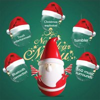 Mini Tumbler Wireless Bluetooth Speakers Christmas Present Papai Noel Roly-poly Speaker Portable Touch Music Player Brinquedo bonito para o Natal