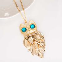Wholesale Long Fashionable Necklace - 2016 New Fashionable Stylish Gold Leaves Owl Charm Chain Long Women Pendant Necklace