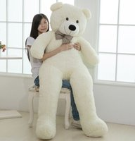 Wholesale Large Plush Bears - Wholesale- Large size 200cm Giant Teddy Bear Lovers Big bear Arms Large Dolls Birthday Gift Plush Toy Wedding Bear With PP Cotton Quality