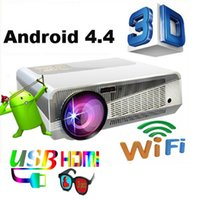 Wholesale Smart Beamer - Wholesale-5500 lumens smart Android 4.4 led projector 1280*800 full hd accessories 3d home theater projetor video proyector beamer