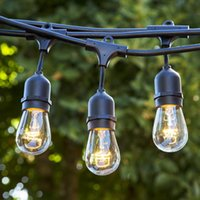 Wholesale Light Bulb Rope - Weatherproof Outdoor String Lights Patio Lights 15 Sockets Rope String Backyard Lights UL Listed with Incandescent bulb for Festivals Garden