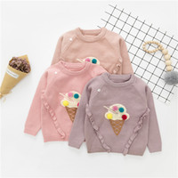 Wholesale Kids Knit Sweaters - Baby kids sweater autumn winter new girls ice cream pompon pullover toddler kids knitting long sleeve sweater children casual jumper A00046