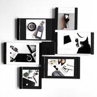 Wholesale Wall Acrylic Photo Frame - Leggyhorse PUZZLE 2pcs of 4inch+4pcs of 6inch Flexible wall photo frame black white Leather Acrylic DIY shapes home decoration