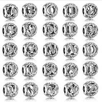 lettres en diamant pour bracelets achat en gros de-925 Sterling Silver Charm Perles Lettres avec Diamant pour la Fabrication de Bijoux 26 Lettres Anglaises Fit Charme de Bijoux Européen pour Bracelets