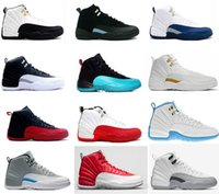 Wholesale Rose Eva - 2017 air retro 12 XII basketball shoes ovo white Flu Game GS Barons wolf grey Gym red taxi playoffs gamma french blue sneaker