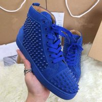 Wholesale Stud Sneakers For Men - Hot Sale Men Casual Shoes Red Bottoms Shoes For Men High Top Sneakers Suede Leather Flat Shoes Spike Studs Men Flats Chaussure Homme