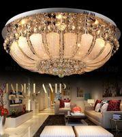 Wholesale Foyer Lighting Semi Flush - Round crystal chandeliers diameter 48 60 80cm surface mount ceiling lamp E14 led glass chandelier lights hotel foyer living room bedroom MYY