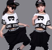Wholesale Hip Hop Suits Girls - size 100-170 retail 2017 girls sporting casual suits summer girl hip-hop clothing costume bat shirt children 2pcs set suit Kids Suit Outfits