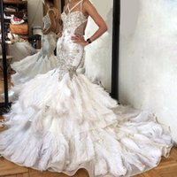 Wholesale Wedding Dresses Open Feather Train - Gorgeous Feathered Mermiad Wedding Dress Sexy Spaghetti Beading Pearls Open Backless Wedding Gowns 2017 New Luxury Tiered Long Bridal Dress