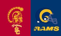 Wholesale Trojan Metal - USC Trojans VS Los Angeles Rams PHelmet flag 3ftx5ft Banner 100D Polyester Flag metal Grommets