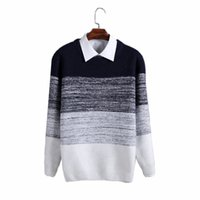 Wholesale Cheap Striped Sweaters - Wholesale- Luxury mens knitted Sweater O-neck Patchwork Striped Thick Mens Sweaters M L XL XXL 3XL Cheap Men Knit Sweater