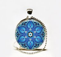 Wholesale Cabochon Glass Tile - Fashion Handcrafted Ornate Blue art pendant Necklace,blue Moroccan tile necklace, turquoise Moroccan tile design Pendant Glass cabochon Neck