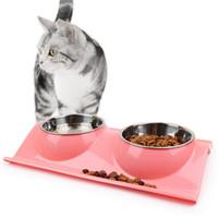 ingrosso ciotola per i gatti-Ciotola per alimenti in plastica in acciaio inox Ciotola per cani per gatti Doppia vasca per animali domestici Separabile di sicurezza Protezione ambientale Impianto acqua Alimentatore per alimenti