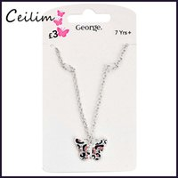Wholesale Red Children Necklaces - Fashion Cute Kids Jewelry Silver Chain Butterfly Necklace Women Pink Rhinestone Necklace For Girls Fit Daughter Christmas Children Gift