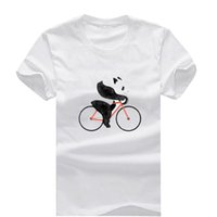 Wholesale Panda M - Panda on a Bicycle New Fashion Men's T-shirts Short Sleeve Tshirt Cotton t shirts Man Clothing Free Shipping