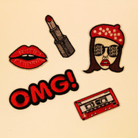Wholesale Sticker Lipstick - Girl Lipstick Iron On Patches Embroidered Stickers Applique Badge Hat Bag Clothing shoes Fabric Sewing Crafts DIY