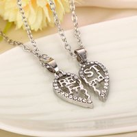 Wholesale Statement Necklace Parts - 2016 New Best friend Necklace 2 parts Hollow Broken Heart Crystal Necklace Bestfriends BBF Friendship Gift Statement Jewelry